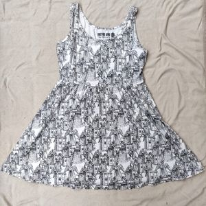 Doctor Who White and Black Skater Dress